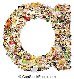 Food Art Letter A - Food Art A Lowercase Shape Collage...