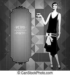 Retro, fiesta, Plano de fondo, hermoso, niña, 1920s,...