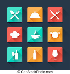 Collection flat icons food and drink for web design