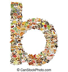 Food Art B Lowercase Shape Collage Abstract