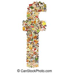 Food Art F Lowercase Shape Collage Abstract