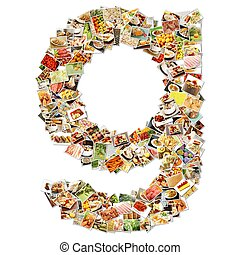 Food Art G Lowercase Shape Collage Abstract