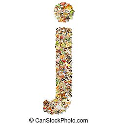 Food Art J Lowercase Shape Collage Abstract