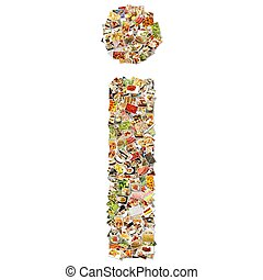 Food Art I Lowercase Shape Collage Abstract