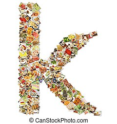 Food Art K Lowercase Shape Collage Abstract