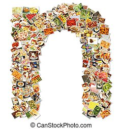 Food Art N Lowercase Shape Collage Abstract