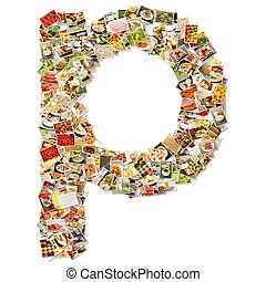 Food Art P Lowercase Shape Collage Abstract
