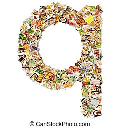 Food Art Q Lowercase Shape Collage Abstract