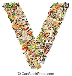 Food Art V Lowercase Shape Collage Abstract