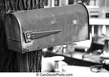 Vintage mailbox in black and white