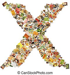 Food Art X Lowercase Shape Collage Abstract