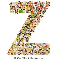 Food Art Z Lowercase Shape Collage Abstract