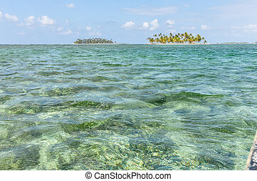 Sailing between San Blas caribbean islands. Panama paradise....