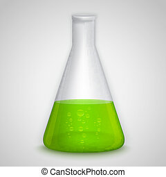 Laboratory flask with green liquid