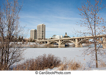 Winter in Saskatoon - A view of the Broadway Bridge and...