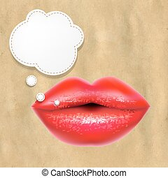 Red Lips With Speech Bubble With Retro Paper