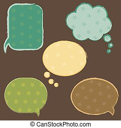 Vintage Speech Bubbles With Stars