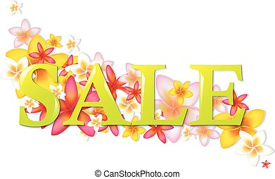 Sale Poster With Flowers With Gradient Mesh, Vector...