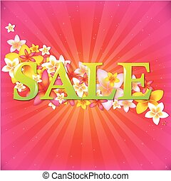 Sale Poster With Flowers And Sunburst