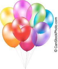 Colorful Balloons With Gradient Mesh, Vector Illustration