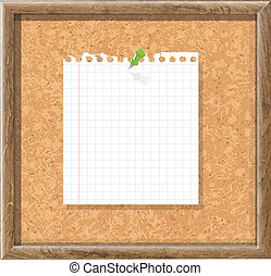 Cork Board With Blank Note Paper And Green Pin