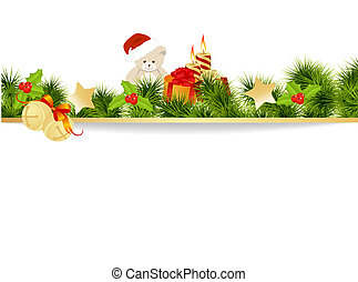 Christmas card background with toys. Vector illustration.