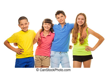 Four preteens kids - Group of four kids, boys and girls in...