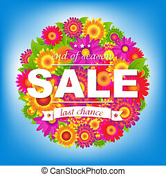 Color Sale Poster With Flowers