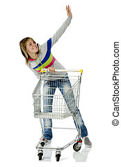 shoppings - girl with the shopping cart