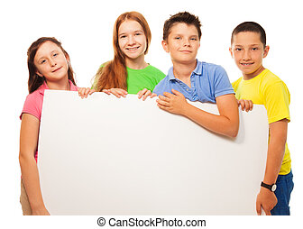 Group of kids show sign - Group of four happy smiling...