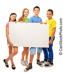 Group of kids with advertising - Four happy smiling friends,...
