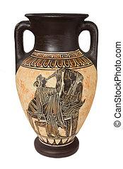 Greek vase - Decorated greek vase isolated on white...