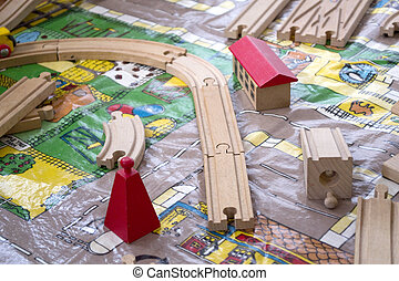 Toy train set - Wooden toy train set on a street scene...