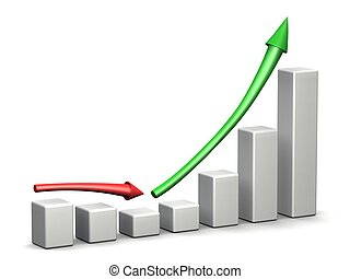 Recovery from Profit Loss - 3D graph with ascending green...