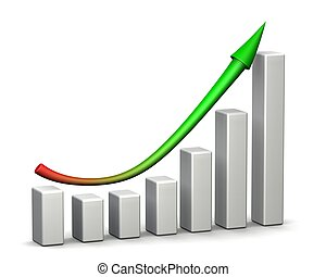 Profit Recovery Arrow - 3D graph with red and green arrow.
