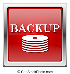 Back-up icon - Metallic icon with white design on red...