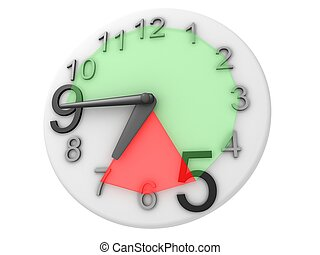 Overtime - A clock showing hours 9 to 5 in green, and 5 to 7...