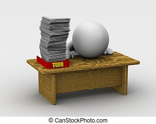 Huge Todo Stack - 3d guy at a desk, with many papers in his...