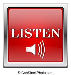 Listen icon - Metallic icon with white design on red...