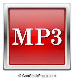 MP3 icon - Metallic icon with white design on red background