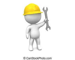 3D Man with hard hat and wrench