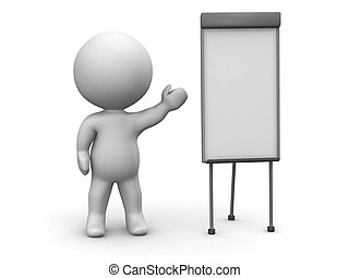 3D Man Whiteboard Presentation - 3d guy teaching something...