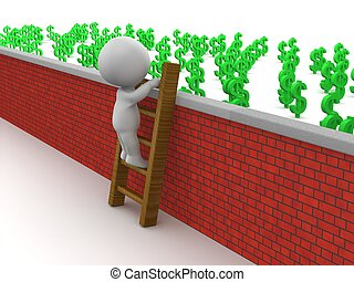 3D Man Climbing Ladder over wall - 3d guy climbing a ladder...