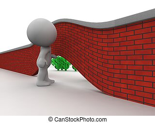 3D Man Looking under wall to money - 3d guy raising a wall,...