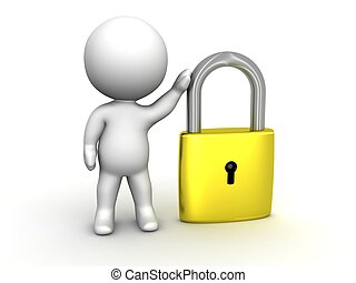 3D Man leaning on PadLock Security - A 3d guy with a large...