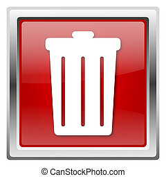 Bin icon - Metallic icon with white design on red background