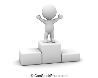 3D Man Standing on Top of Podium - A 3d man standing on top...