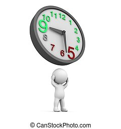 3D Man Overtime Clock - A 3D man holding his head, and a...