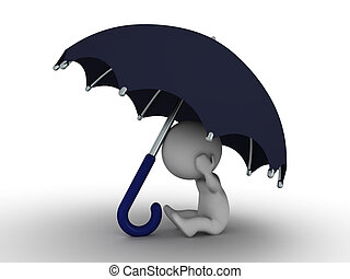 3D Man Hiding Under Umbrella - Secu - A 3d man hiding under...