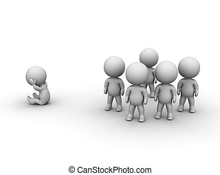 3D Man sitting isolated from group - A 3D man sitting...